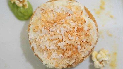 Coconut Cake dessert at the CIA's Savor restaurant in the Pearl District of San Antonio, Texas.
