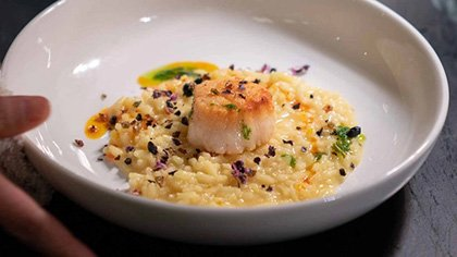 Sea Scallop and Saffron Risotto at the CIA's Savor restaurant in the Pearl District of San Antonio, Texas.